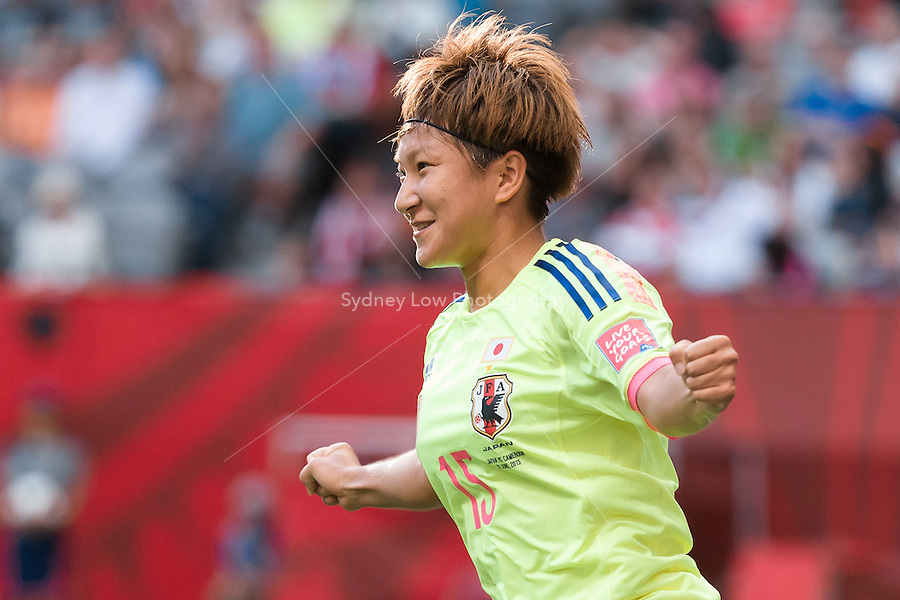June 12, 2015: Yuika SUGASAWA of Japan celebrates her goal during a Group C match at the FIFA Women's World Cup Canada 2015 between Cameroon and Japan at BC Place Stadium on 12 June 2015 in Vancouver, Canada. Japan won 2-1. Sydney Low/AsteriskImages