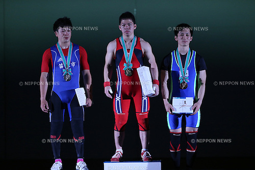(L-R) <br /> Yosuke Nakayama, <br /> Yoichi Itokazu, <br /> Yoshimasa Sato, <br /> MAY 21, 2016 - Weightlifting : <br /> All Japan Weightlifting Championship 2016 Men's -62kg <br /> Award Ceremony at Yamanashi Municipal Gymnasium, Yamanashi, Japan. <br /> (Photo by AFLO SPORT)