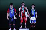 (L-R) <br /> Yosuke Nakayama, <br /> Yoichi Itokazu, <br /> Yoshimasa Sato, <br /> MAY 21, 2016 - Weightlifting : <br /> All Japan Weightlifting Championship 2016 Men's -62kg <br /> Award Ceremony at Yamanashi Municipal Gymnasium, Yamanashi, Japan. <br /> (Photo by AFLO SPORT)
