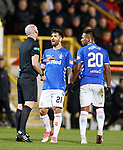 06.02.2019:Aberdeen v Rangers: Daniel Candeias comes across to interpret and translate as Bobby Madden tells Alfredo Morelos to cool it in the first half
