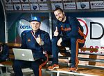 BHUBANESWAR -  Fysio Jeremy Bertels en video analist Jaimy Hulsker (l)  tijdens de Hockey World League Finals , de kwartfinale wedstrijd Duitsland-Nederland (3-3).Duitsland wint na shoot-outs.    COPYRIGHT KOEN SUYK