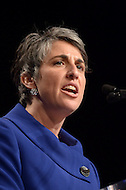 Washington, DC - January 2, 2015: Elissa Silverman delivers her speech after taking the oath of office as At-Large councilmember for during the 2015 inauguration ceremony held at the Washington Convention Center, January 2, 2015.   (Photo by Don Baxter/Media Images International)