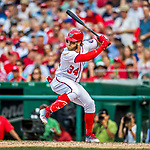 29 June 2017: Washington Nationals outfielder Bryce Harper at bat against the Chicago Cubs at Nationals Park in Washington, DC. The Cubs rallied against the Nationals to win 5-4 and split their 4-game series. Mandatory Credit: Ed Wolfstein Photo *** RAW (NEF) Image File Available ***
