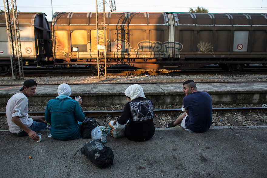 "Migrants waiting for a train in Gevgelija, Macedonia  after crossing the border on foot from Greece. As many as 500 people crowd onto each train (there are three per day) in order to travel to the Serbian border, which is now permitted under Macedonian law. Since the new law was enacted in June, a huge increase in the numbers of people traveling the ""Western Balkan route"" to EU countries like Germany and Sweden, where they hope to receive asylum. PHOTO BY JODI HILTON"