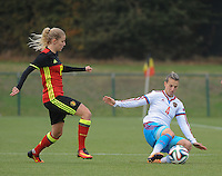 20161023 - TUBIZE , BELGIUM : Belgian Tine Schryvers and Russian Tatiana Sheikina (R) pictured during a friendly game between the women teams of the Belgian Red Flames and Russia at complex Euro 2000 in Tubize , Sunday 23 October 2016 ,  PHOTO Dirk Vuylsteke | Sportpix.Be