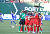 Portland, OR - Saturday May 27, 2017: Thorns huddle during a regular season National Women's Soccer League (NWSL) match between the Portland Thorns FC and the Boston Breakers at Providence Park.
