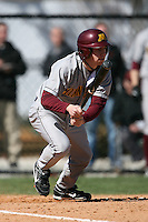 February 21, 2009:  Second baseman A.J. Pettersen of the University of Minnesota during the Big East-Big Ten Challenge at Jack Russell Stadium in Clearwater, FL.  Photo by:  Mike Janes/Four Seam Images