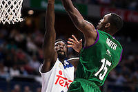 Real Madrid's player Othello Hunter and Unicaja Malaga's player Jamar Smith during match of Liga Endesa at Barclaycard Center in Madrid. September 30, Spain. 2016. (ALTERPHOTOS/BorjaB.Hojas) /NORTEPHOTO