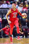 Washington, DC - August 17, 2018: Washington Mystics forward Aerial Powers (23) brings the ball up court during game between the Washington Mystics and Los Angeles Sparks at the Capital One Arena in Washington, DC. (Photo by Phil Peters/Media Images International)