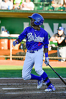 Errol Robinson (9) of the Ogden Raptors at bat against the Missoula Osprey in Pioneer League action at Lindquist Field on July 14, 2016 in Ogden, Utah. Ogden defeated Missoula 10-4. (Stephen Smith/Four Seam Images)