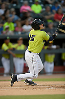 Catcher Hayden Senger (15) of the Columbia Fireflies bats in a game against the Augusta GreenJackets on Friday, May 31, 2019, at Segra Park in Columbia, South Carolina. Augusta won, 8-6. (Tom Priddy/Four Seam Images)