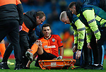 Junior Moraes of Shakhtar Donetsk is put on to a stretcher during the UEFA Champions League match against Manchester City at the Etihad Stadium, Manchester. Picture date: 26th November 2019. Picture credit should read: Darren Staples/Sportimage
