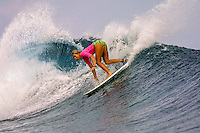 Serena Brooks (AUS) during the Roxy Fiji Surf Jam  at Cloudbreak in 2001. Photo: joliphotos.com