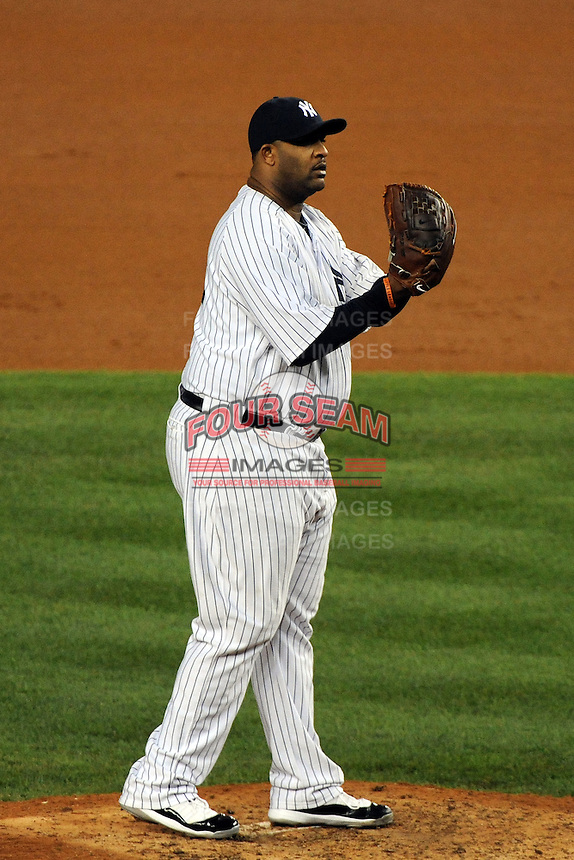 New York Yankees pitcher CC Sabathia #52 during ALDS game #5 against the Detroit Tigers at Yankee Stadium on October 06, 2011 in Bronx, NY.  Detroit defeated New York 3-2 to take the series 3 games to 2 games.  Tomasso DeRosa/Four Seam Images