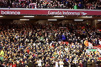 Swansea City fans pictured ahead of the Barclays Premier League Match between Liverpool and Swansea City played at Anfield, Liverpool on 29th November 2015