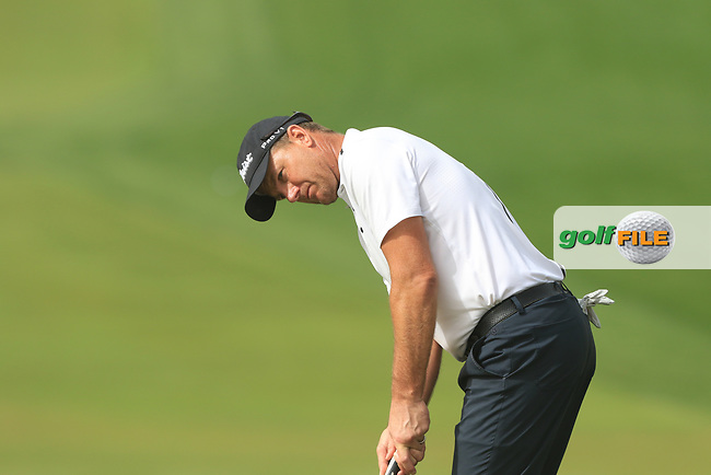 Robert Karlsson (SWE) on the 3rd during Round 1 of the Omega Dubai Desert Classic, Emirates Golf Club, Dubai,  United Arab Emirates. 24/01/2019<br /> Picture: Golffile | Thos Caffrey<br /> <br /> <br /> All photo usage must carry mandatory copyright credit (© Golffile | Thos Caffrey)