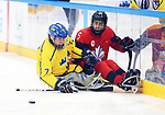 Pyeongchang, Korea, 10/3/2018-Tyrone Henry of Canada plays Sweden in hockey during the 2018 Paralympic Games in PyeongChang. Photo Scott Grant/Canadian Paralympic Committee.