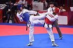 Ä Hidenori Ebata (JPN), <br /> AUGUST 22, 2018 - Taekwondo : Men's -80kg Round 32 at Jakarta Convention Center Plenary Hall during the 2018 Jakarta Palembang Asian Games in Jakarta, Indonesia. <br /> (Photo by MATSUO.K/AFLO SPORT)