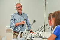 20200824 , GENT , BELGIUM : Sports jouralist Tom Boudeweel pictured during a players presentation of K.A.A. Gent ladies before the 2020 - 2021 season of Belgian Women's SuperLeague , Monday 24 th of August 2020 in Gent , Belgium . PHOTO SPORTPIX.BE | STIJN AUDOOREN
