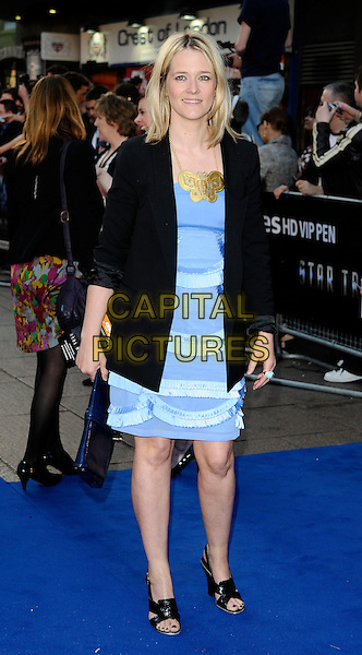 "EDITH BOWMAN.UK Film Premiere of ""Star Trek"" held at the Empire Cinema, Leicester Square, London, England..April 20th 2009 .full length black jacket blue white dress open toe shoes frills gold necklace .CAP/CAN.©Can Nguyen/Capital Pictures."