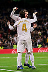 Sergio Ramos and Gareth Bale of Real Madrid celebrate goal during La Liga match between Real Madrid and RC Celta de Vigo at Santiago Bernabeu Stadium in Madrid, Spain. February 16, 2020. (ALTERPHOTOS/A. Perez Meca)