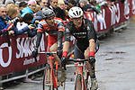 Riders cross the finish line of the 2017 Strade Bianche running 175km from Siena to Siena, Tuscany, Italy 4th March 2017.<br /> Picture: Eoin Clarke | Newsfile<br /> <br /> <br /> All photos usage must carry mandatory copyright credit (&copy; Newsfile | Eoin Clarke)