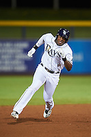 Peoria Javelinas Justin Williams (25), of the Tampa Bay Rays organization, during a game against the Glendale Desert Dogs on October 18, 2016 at Peoria Stadium in Peoria, Arizona.  Peoria defeated Glendale 6-3.  (Mike Janes/Four Seam Images)