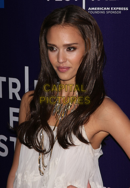 "JESSICA ALBA.attends the 2010 Tribeca Film Festival Premiere of ""The Killer Inside Me"" at the SVA Theatre, New York, NY, USA, .April 27th, 2010..portrait headshot white necklace gold silver  make-up hair beauty                                                                CAP/LNC/TOM.©LNC/Capital Pictures."