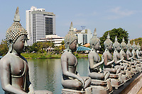 Sri Lanka Colombo, buddhist Simamalaka shrine on an island in Beira Lake