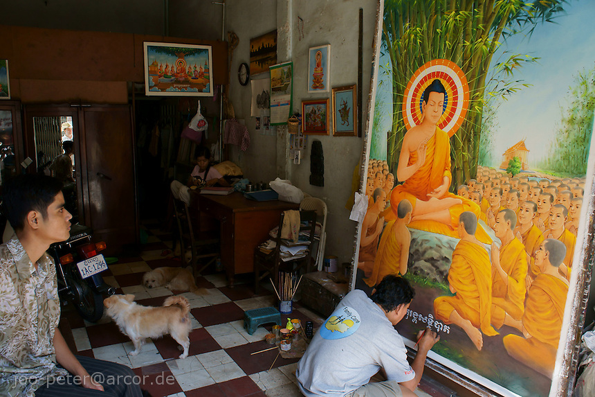 artist painting a scene with Buddha teaching, Phnom Penh, close to state  art academy and buddhist university, Cambodia, August 2011