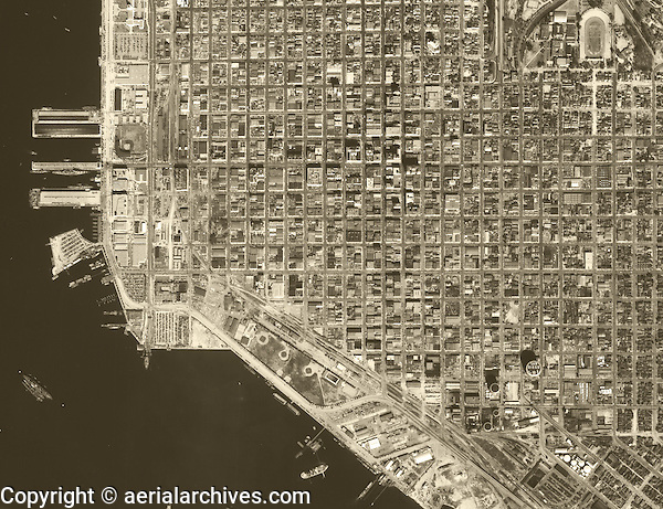 historical aerial photograph San Diego, California, 1949