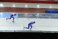 SPEED SKATING: SALT LAKE CITY: 21-11-2015, Utah Olympic Oval, ISU World Cup, 500m Ladies, Heather Richardson (USA), Brittany Bowe (USA), ©foto Martin de Jong