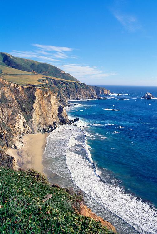 Rugged Coastline along Pacific West Coast at Bixby Creek, Big Sur, California, USA - along Pacific Coast Highway 1