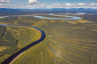 Aerial view of the Kobuk River and patterns of vegetation, Arctic, Alaska.