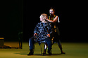 """EMBARGOED UNTIL 23:30 TUES 1ST OCTOBER, 2019. London, UK. 28.09.2019. English National Opera presents """"Orpheus & Eurydice"""", by Christoph Gluck,  with libretto by Pierre-Louis Moline, version by Hector Berlioz, at the London Coliseum. Directed and choreographed by Wayne McGregor, with lighting design by Jon Clark, set design by Lizzie Clachan, costume design by Louise Gray, and video design by Ben Cullen Williams. Picture shows: Alice Coote (Orpheus), Soraya Mafi (Love). Photograph © Jane Hobson."""