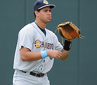 Catcher Gary Sanchez (35) of the Charleston RiverDogs, a New York Yankees affiliate, prior to a game against the Greenville Drive on June 24, 2012, at Fluor Field at the West End in Greenville, South Carolina. Charleston won, 7-5. Sanchez is the Yankees' No. 4 prospect, according to Baseball America. (Tom Priddy/Four Seam Images).