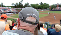 A Virginia fan wears a telling hat during the game against Bucknell Friday at Davenport Field in Charlottesville, VA. Photo/The Daily Progress/Andrew Shurtleff