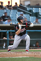 Michael Gettys (23) of the Lake Elsinore Storm bunts during a game against the Lancaster JetHawks at The Hanger on August 2, 2016 in Lancaster, California. Lake Elsinore defeated Lancaster, 10-9. (Larry Goren/Four Seam Images)