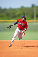 GCL Twins shortstop Royce Lewis (4) running the bases during the first game of a doubleheader against the GCL Rays on July 18, 2017 at Charlotte Sports Park in Port Charlotte, Florida.  GCL Twins defeated the GCL Rays 11-5 in a continuation of a game that was suspended on July 17th at CenturyLink Sports Complex in Fort Myers, Florida due to inclement weather.  (Mike Janes/Four Seam Images)