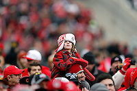 A fan watches during the Ohio State football National Championship celebration at Ohio Stadium on Saturday, January 24, 2015. (Columbus Dispatch photo by Jonathan Quilter)