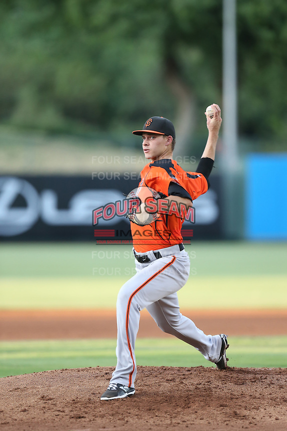 Jordan Johnson (63) of the AZL Giants pitches during a game against the AZL Angels at Tempe Diablo Stadium on July 6, 2015 in Tempe, Arizona. Angels defeated the Giants, 3-1. (Larry Goren/Four Seam Images)