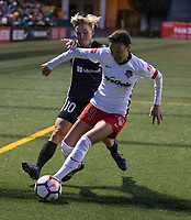 Seattle, WA - Saturday March 24, 2018: Jessica Fishlock, Estelle Johnson during a regular season National Women's Soccer League (NWSL) match between the Seattle Reign FC and the Washington Spirit at the UW Medicine Pitch at Memorial Stadium.