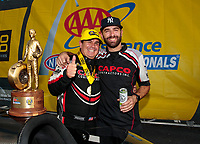 Sep 29, 2019; Madison, IL, USA; NHRA top fuel driver Billy Torrence (left) celebrates with crew member Dom Lagana after winning the Midwest Nationals at World Wide Technology Raceway. Mandatory Credit: Mark J. Rebilas-USA TODAY Sports