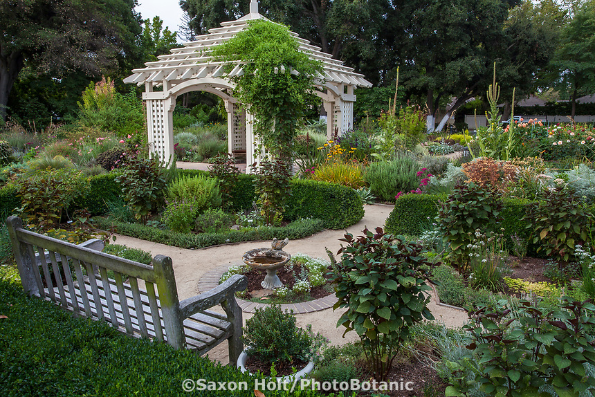 Formal herb garden room near gazebo in Gamble Garden, Palo Alto, California