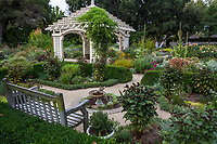 Formal herb garden room near gazebo in Gamble Garden, Palo Alto, California