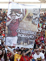 Calcio, Serie A: Roma, stadio Olimpico, 28 maggio 2017.<br /> Roma fans with a banner featuring Roma&rsquo;s Francesco Totti before the start the Italian Serie A football match between AS Roma and Genoa at Rome's Olympic stadium, May 28, 2017.<br /> Francesco Totti's final match with Roma after a 25-season career with his hometown club.<br /> UPDATE IMAGES PRESS/Isabella Bonotto