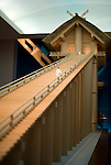 Photo shows a 1/10 model of what the main building of the Izumo Grand Shrine is thought to have once looked like on display at the Shimane Museum  of Ancient Izumo, which was designed by Maki Fumihiko, in Izumo City, Shimane Prefecture, Japan on 05 Nov. 2012.  Photographer: Robert Gilhooly