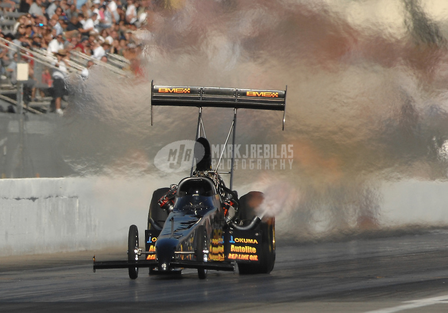 Nov 3, 2007; Pomona, CA, USA; NHRA top fuel dragster driver Alan Bradshaw during qualifying for the Auto Club Finals at Auto Club Raceway at Pomona. Mandatory Credit: Mark J. Rebilas-US PRESSWIRE