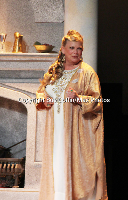 """Guiding Light's Kim Zimmer stars in """"Lion in the Winter"""" as Queen Eleanor and Henry II - King of England July 25 through August 6 - this being the Dress Rehearsal at The Barn Theatre, Augusta, Michigan. (Photo by Sue Coflin/Max Photos)"""