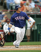 Texas Rangers C Jarrod Saltalamacchia against the Seattle Mariners on May 14th, 2008 at Texas Rangers Ball Park in Arlington, Texas. Photo by Andrew Woolley .